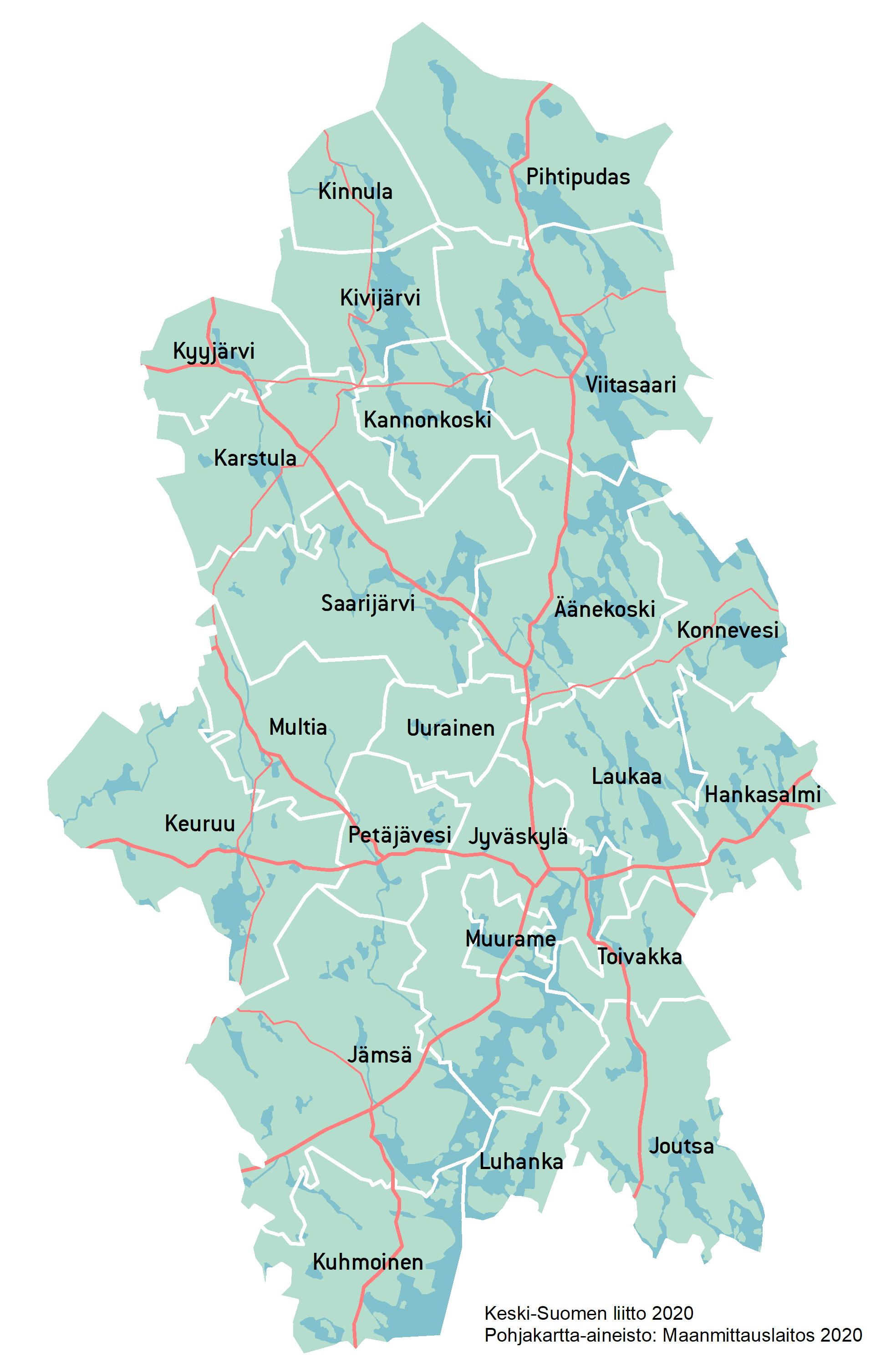 Keski-Suomen kuntakartta